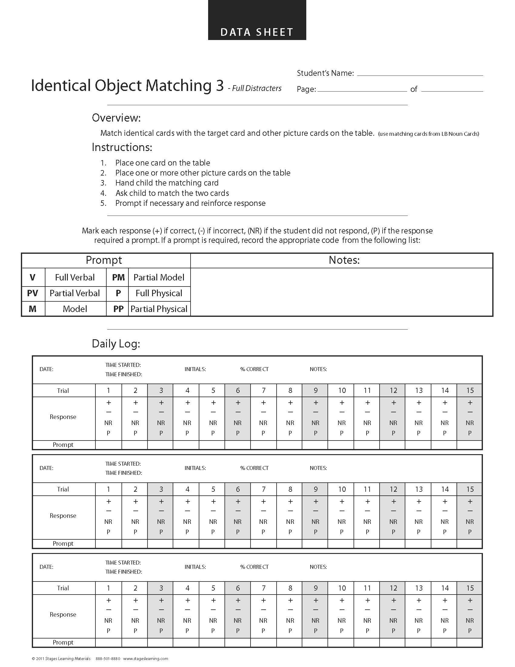 Identical matching aba data sheet