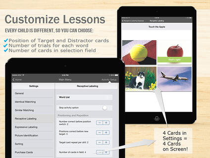 Customized presentation of cards in Language Builder App